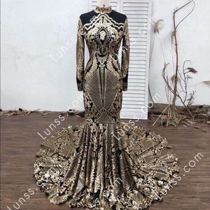 Black and Gold sequined prom dress